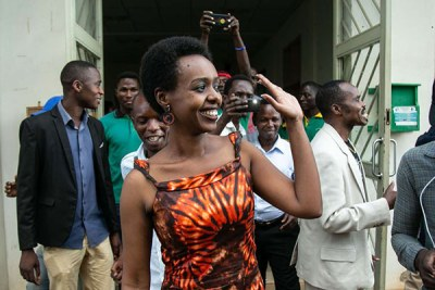 Diane Rwigara leaves Kigali's High Court on December 6, 2018 after the judges dropped all the charges and declared her not guilty of forgery and inciting insurrection.