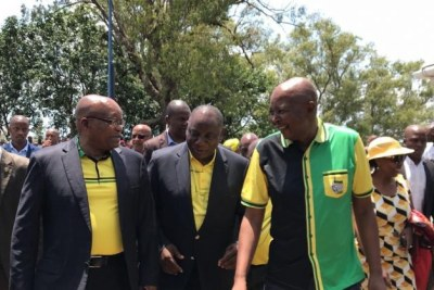 Former President Jacob Zuma (left), current President Cyril Ramaphosa and Deputy President David Mabuza celebrate the ANC's 107th birthday.