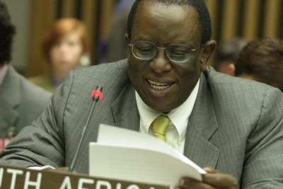 South African Ambassador Dumisani S. Kumalo, delivering a statement on behalf of the Group of 77 and China at the United Nations in 2006.