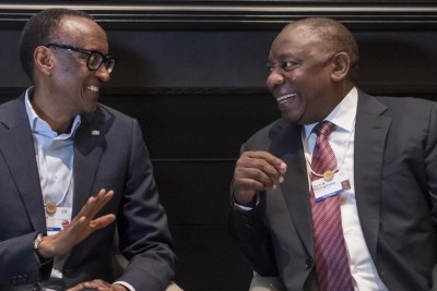 From left: Presidents Paul Kagame and Cyril Ramaphosa.