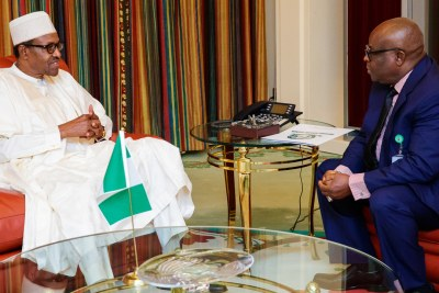 President Muhammadu Buhari with Chief Justice Walter Onnoghen at the State House last year.