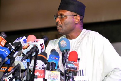 Independent National Electoral Commission (INEC) Chairman, Prof. Mahmood Yakubu, addressing a stakeholders meeting on 2019 General Elections postponement, in Abuja on Saturday .