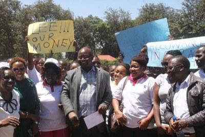 Kenya nurses on strike on February 18, 2019