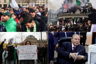 This is just the latest march by Algerians against the current regime, and protesters say that Bouteflika (bottom-right) needs to stand down and not run in the upcoming 18 April elections.