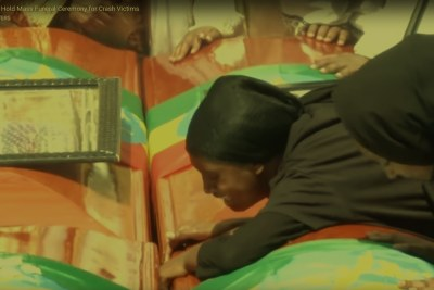 The funeral that was held for Ethiopian victims of the airline tragedy.
