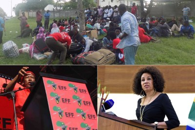 Top: Dozens of foreign nationals, mostly from Malawi, who slept outside in Sydenham. Bottom-left: EFF leader Julius Malema. Bottom-right: Minister of International Relations and Cooperation Lindiwe Sisulu.