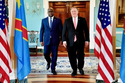 U.S. Secretary of State Michael R. Pompeo meets with Democratic Republic of the Congo President Felix Tshisekedi on the margins of the NATO Ministerial at the U.S. Department of State in Washington, D.C., in Washington, D.C., on April 3, 2019. [State Department photo by Michael Gross/ Public Domain]