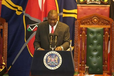 President Uhuru Kenyatta delivering his State of the Nation Address at Parliament Buildings on April 4, 2019.