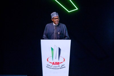 Buhari in Dubai, delivered the Keynote Address at the Annual Investment Meeting and toured the Exhibition Stands of the annual meeting
