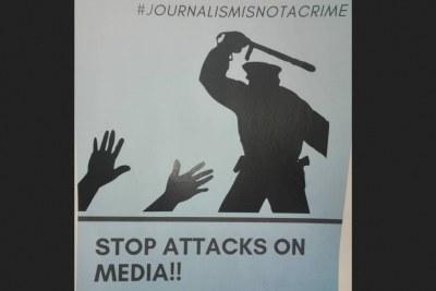 Le journalisme n'est pas un crime. Arrêtez les attaques contre le journalisme, peut-on lire sur cette image.