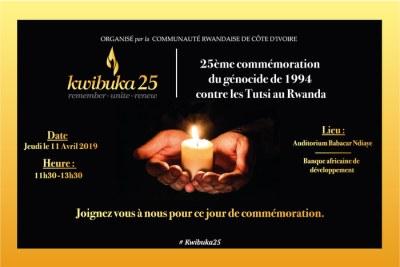 Cérémonie pour commémorer le 25e anniversaire du génocide des Tutsis au Rwanda.