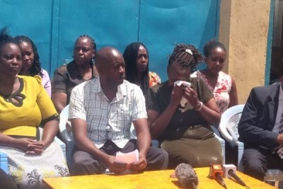 Ivy Wangechi's family address at their home in Thika on April 14, 2019. The medical student will be buried on April 18.