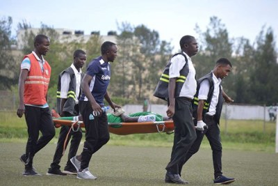 Paramedics carry off-pitch Gor Mahia striker Dennis Oliech after he was injured during their Sportpesa Premier League match against Western Stima at Moi Stadium, Kisumu on May 5, 2019.