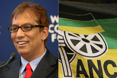 Left: Sekunjalo Investment chief Iqbal Survé. Right: ANC flag.