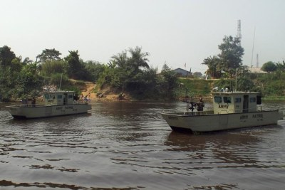 Patrol boats off the coast of Bayelsa state in the Niger Delta's oil-rich region.