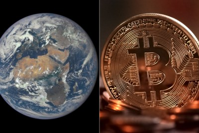 Left: Satellite image of Africa. Right: Bitcoin mock-up.