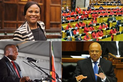 Top-left: Public Protector Busisiwe Mkhwebane. Top-right: EFF members in Parliament. Bottom-left: President Cyril Ramaphosa. Bottom-right: Pravin Gordhan.