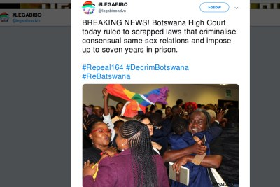 The Botswana Network on Ethics, Law and HIV/AIDS (BONELA) and Lesbians, Gays and Bisexuals of Botswana (LEGABIBO) have won their Botswana High Court case targeting Section 164 of the Penal Code. They said the law denies people the right to associate and to express their sexuality.
