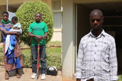 Left: Ezechiel Muhawenimana, 36, his wife Esperance Dusabimana, 35, and their child who was born from a Ugandan prison, are among those seeking legal redress. Right: Venant Musoni Hakolimana, a teacher who says he lost his job in Ethiopia when he was arrested by Ugandan security agents, is demanding US$1 million in compensation and the ordeal he was subjected to in detention.