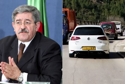 Left: Ahmed Ouyahia. Right: Volkswagen Golf in Oued Chiffa, Algeria.