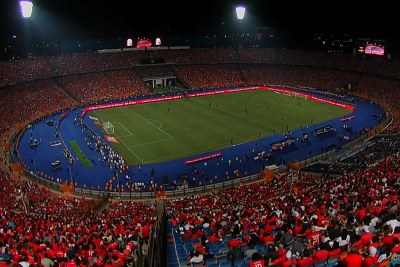 Video screenshot: Fans seated in the Cairo International Stadium ahead of the Afcon 2019 clash between Egypt and Zimbabwe.