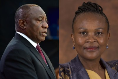 Left: President Cyril Ramaphosa. Right: Public Protector Busisiwe Mkhwebane.