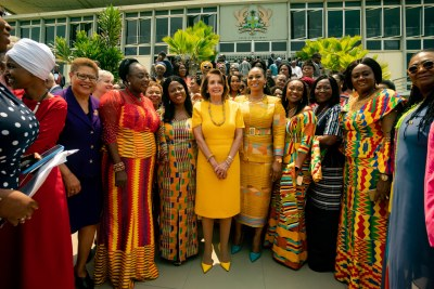 To travel to Ghana with Members of the Congressional Black Caucus led by the Speaker, the most powerful woman in America, says a great deal about the historical ties between our countries and reaffirms our commitment to Ghana and to the continent of Africa. We have returned, said US Congressmember Karen Bass.