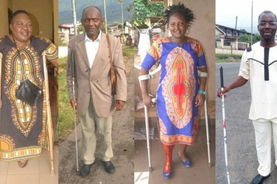 Des membres de l'Unité de coordination, un réseau de soutien aux personnes en situation de handicap dans la région du Sud-Ouest du Cameroun, en avril 2019.