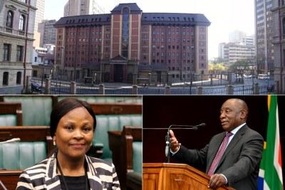 Top: North Gauteng High Court. Bottom-left: Public Protector Busisiwe Mkhwebane. Bottom-right: President Cyril Ramaphosa.