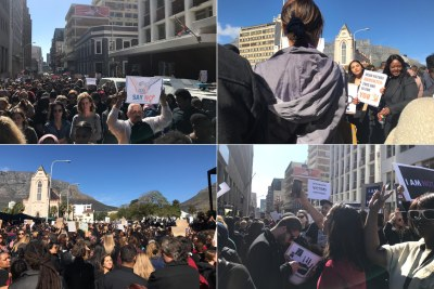 #AmINext protesters wearing black in support of the fight against gender-based violence took their demonstrations to the gates of Parliament and the Cape Town CBD.