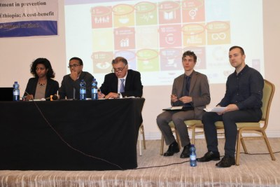 Panel discussion during the dissemination workshop of a case report for investment in prevention and control of noncommunicable diseases, that took place at Jupiter International Hotel, Addis Ababa.