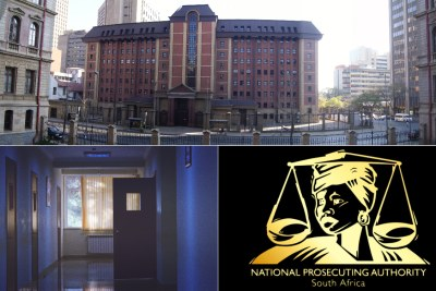 Top: North Gauteng High Court. Bottom-left: Hospital ward. Bottom-right: National Prosecuting Authority logo.