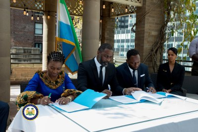 Idris Elba signs development deal in Sierra Leone.