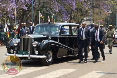 President Emmerson Mnangagwa arrives for SONA.