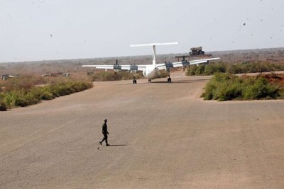 A plane is seen at the Kismayu airport in the picture taken on January 22, 2014.
