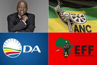 Top-left: Former Johannesburg mayor Herman Mashaba. Top-right: African National Congress flag. Bottom-left: Democratic Alliance logo. Bottom-right: Economic Freedom Fighters logo.