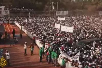 The crowd at a presidential campaign rally in Guinea Bissau.