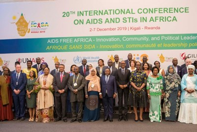 Rwandan and Mozambican presidents Paul Kagame and Filipe Nyusi, First Lady Jeannette Kagame and her counterparts from around the continent, as well as other high-profile delegates in a group photo after the opening of the ICASA 2019 conference in Kigali.