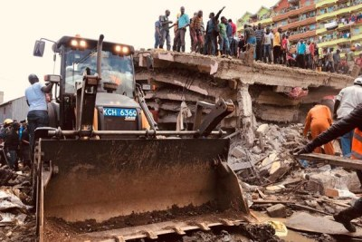 Search and rescue operations following collapse of a six storey building at Tassia estate in Embakasi, Nairobi County, on December 6, 2019.