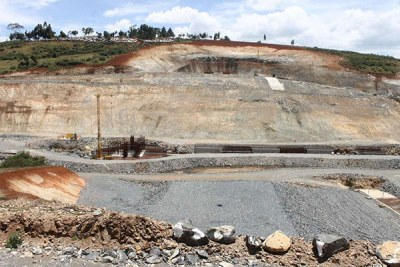 This image taken on February 25, 2019 in Nakuru County shows the stalled construction of Itare Dam in Kuresoi South.