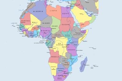 Une carte politique de l'Afrique.