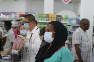 Shoppers at a mall in Dar es Salaam as new measures are being implemented following the announcement of novel coronavirus cases in the country (file photo).