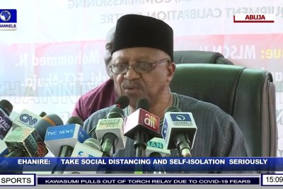 Nigerian Minister of Health Dr. Osagie Emmanuel Ehanire talks to the nation and the media about COVID-19 broadcast live on Channels TV.