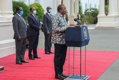 President Uhuru Kenyatta addresses the country on the Covid-19 disease from State House (file photo).