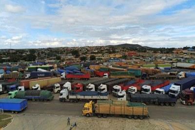 Lorries parked at Namanga one stop border post.