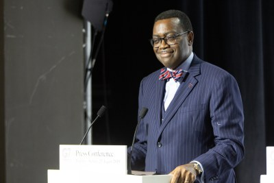 African Development Bank President Akinwumi Adesina at the 45th G7 Summit press conference in Biarritz, France, 2019.