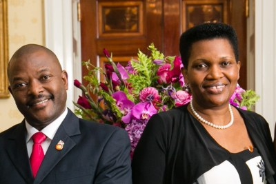 The late President Pierre Nkurunziza and his wife Denise Nkurunziza (file photo).