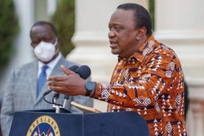 President Uhuru Kenyatta addressing the nation (file photo).