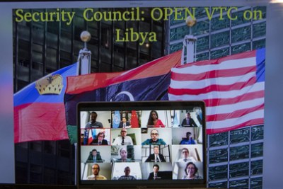 A United Nations virtual Security Council meeting on Libya in June 2020.