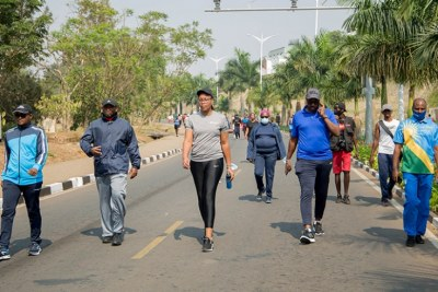 Residents of Kigali on Car Free Day which returned on September 20.
